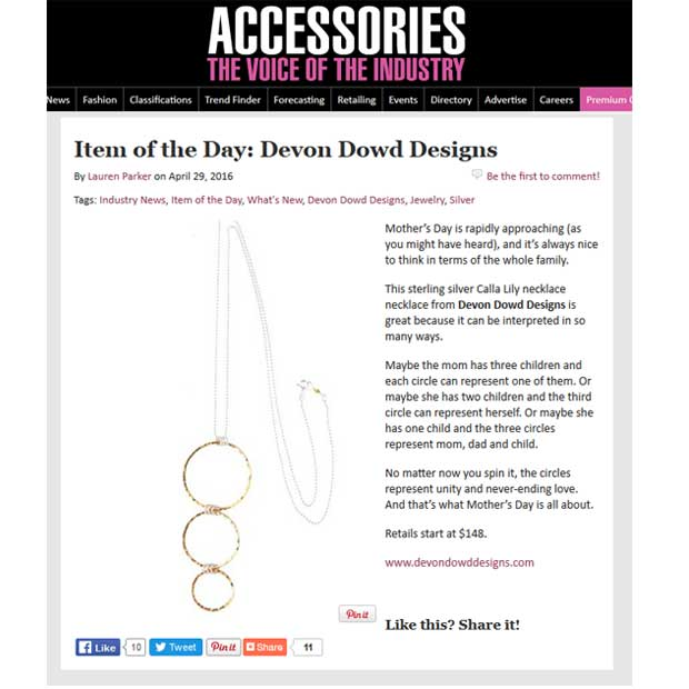Devon Dowd Designs featured in Accessories Magazine